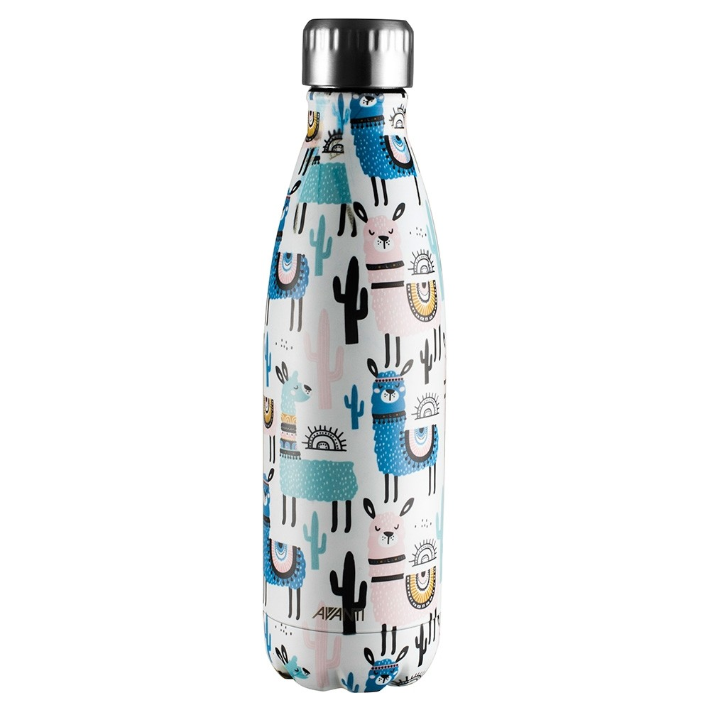 Avanti Stainless Steel Insulated Water Bottle / Flask - 500ml Llama