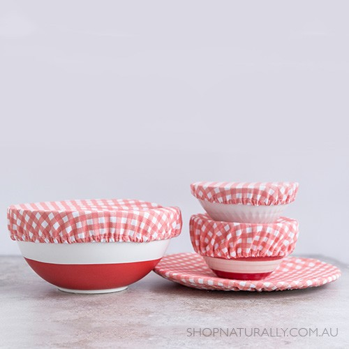 4MyEarth Reusable Food Cover Set (4) - Red Gingham