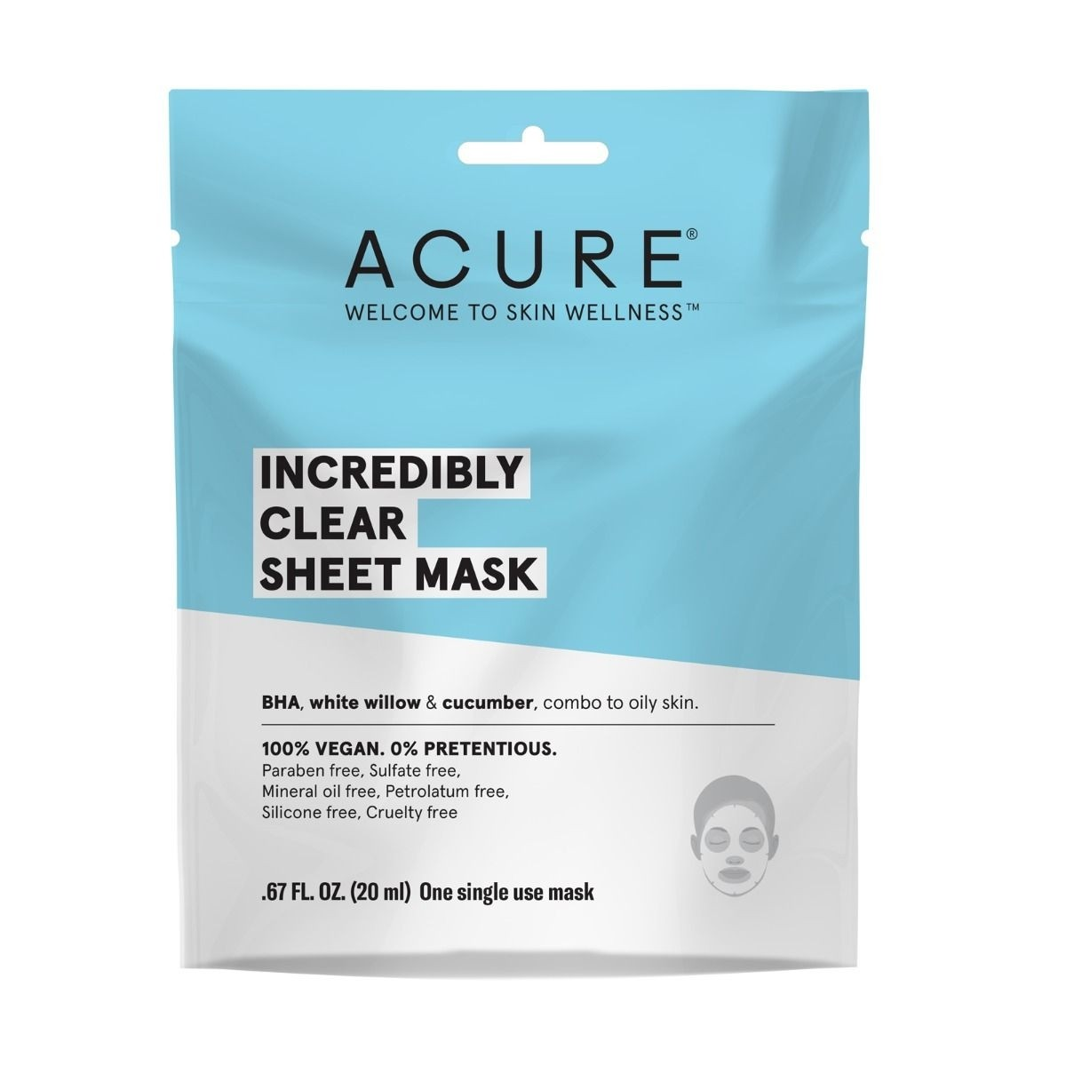 Acure Incredibly Clear Sheet Mask - 20ml