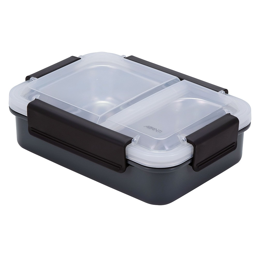Avanti 2 Compartment Bento Box with Stainless Steel Tray - Grey