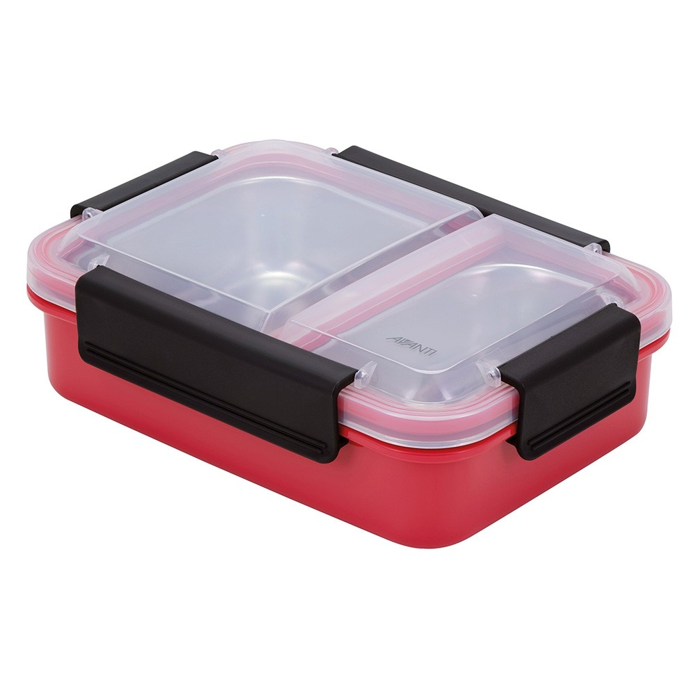 Avanti 2 Compartment Bento Box with Stainless Steel Tray - Watermelon