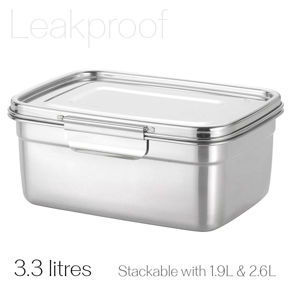 Avanti Dry Cell Stainless Steel Leakproof Food Container - 3.3LItres