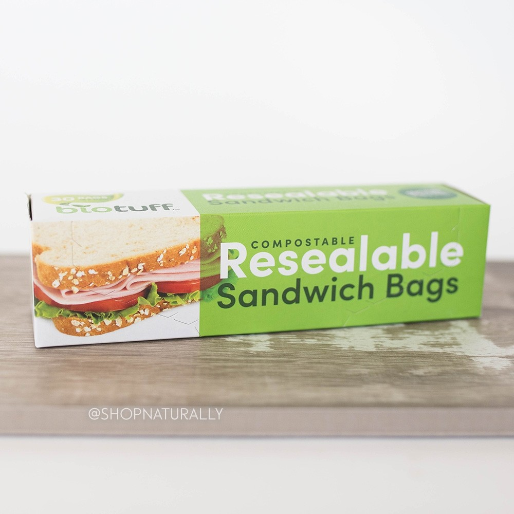 BioTuff Compostable Resealable Sandwich Bags 30 pack