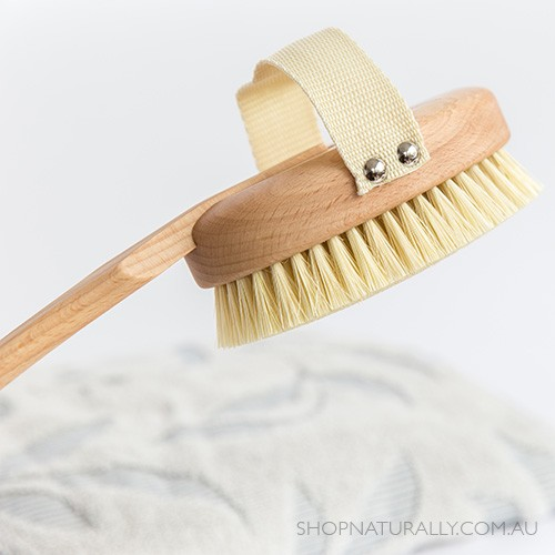 Bodecare Deluxe Dry Body Brush - Tampico Bristle with removable handle