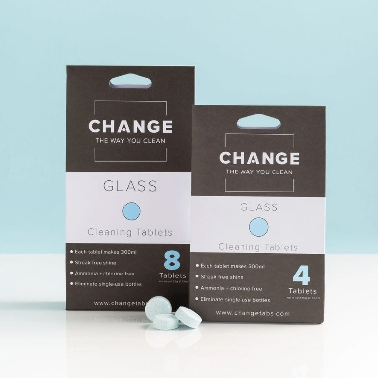 Change Glass Cleaning Tablets - 2 Sizes