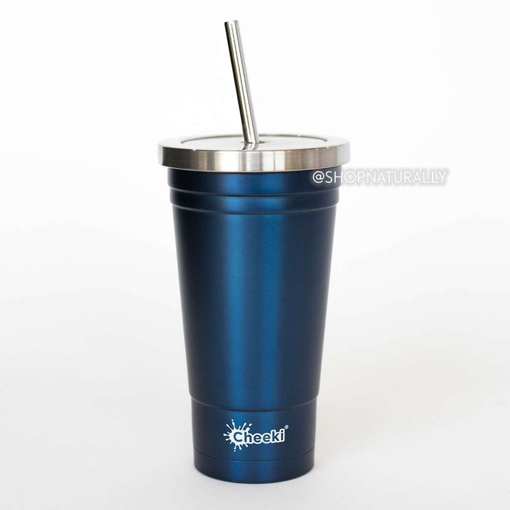 Cheeki Stainless Steel Insulated Smoothie Cup & Straw - 500ml Ocean Blue
