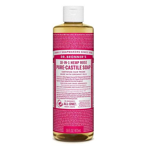 Dr Bronner's 18-in-1 Hemp Pure Castile Soap - 473ml Rose