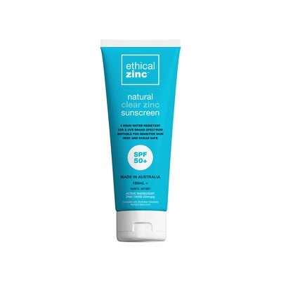 Ethical Zinc Natural Clear Zinc Sunscreen SPF50+ 100ml