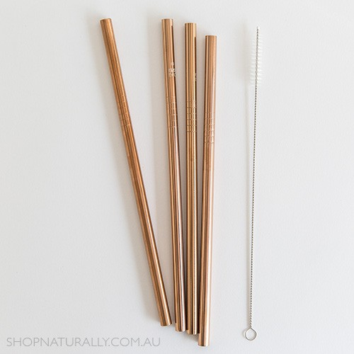 Ever Eco Stainless Steel Straight Drinking Straws 4 pack + cleaning brush - Rose Gold
