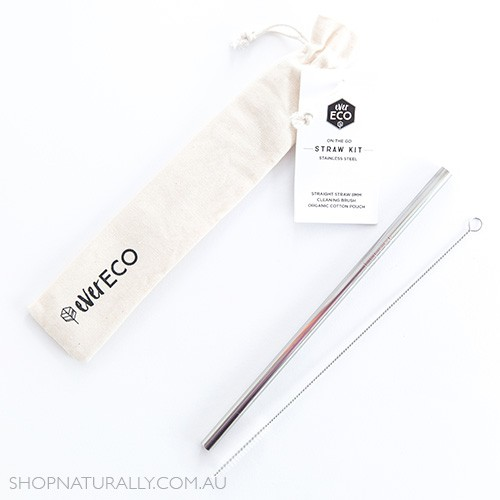 Ever Eco Stainless Steel Straight Drinking Straw + cleaning brush in organic cotton pouch - Silver