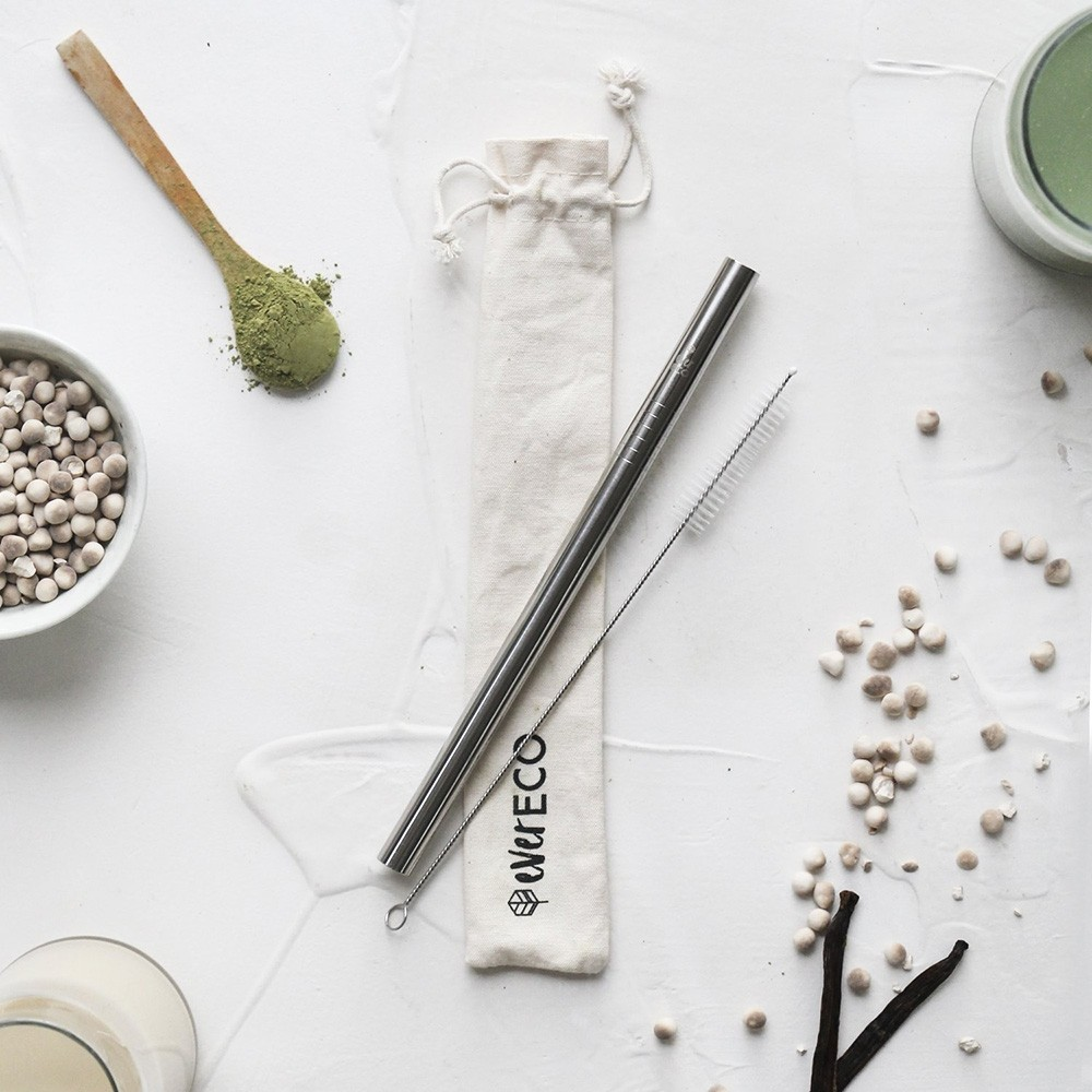 Ever Eco Stainless Steel Bubble Tea Drinking Straw + Pouch - Silver