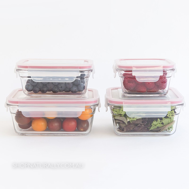 Glasslock Oven Safe Glass Food Container Set - 4 piece leftovers and snack set