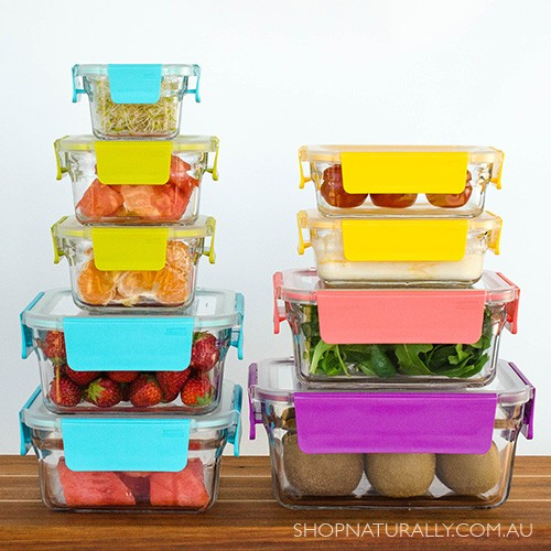 Glasslock Oven Safe Premium Glass Food Container Set - 9 Containers with easy open lids