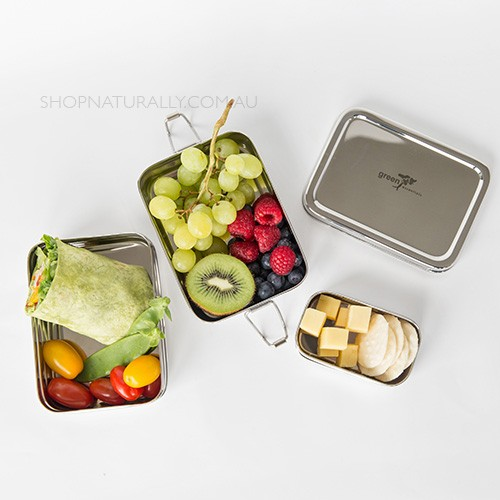 Green Essentials Tuck-A-Stacker stainless steel lunch box - small 2 tier + snack container
