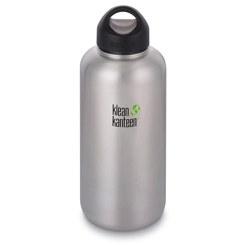 Klean Kanteen Wide Mouth stainless steel drink bottle with stainless steel loop cap - 1892ml / 64oz silver
