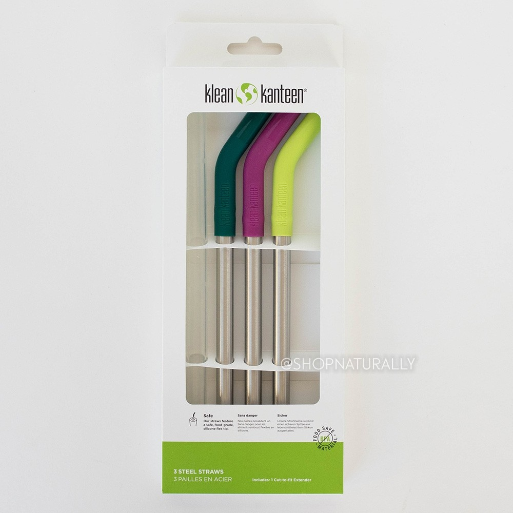 Klean Kanteen Stainless Steel Smoothie Straws 3 pack with silicone tips - Multi Colour