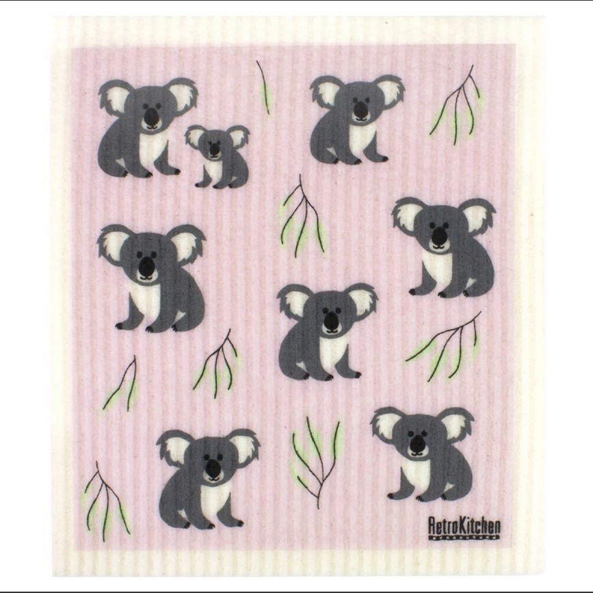 Retro Kitchen Swedish Dish Cloth - Koalas