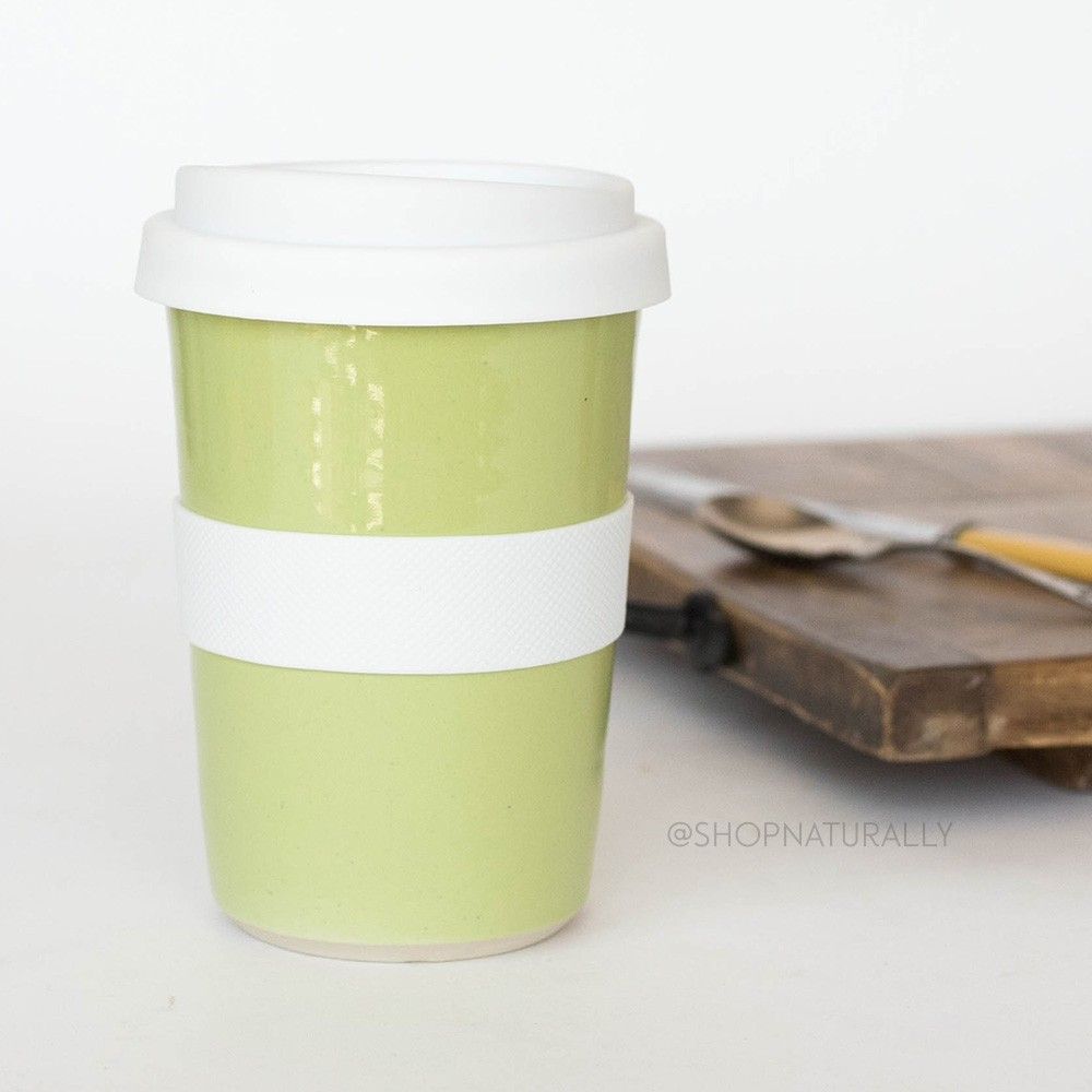 Southern Cross Pottery Stoneware Coffee Cup - 340ml Lime