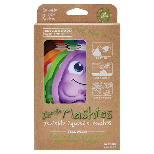 Little Mashies Reusable Squeeze Pouch 130ml - 10 pack Mixed Colours