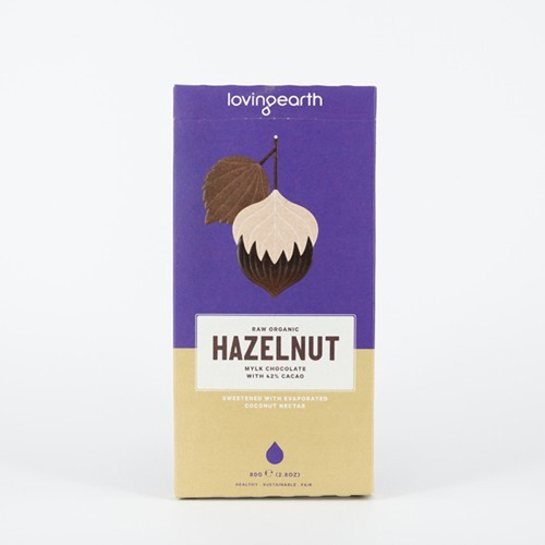 Loving Earth Raw Organic Chocolate - Hazelnut Mylk 80g