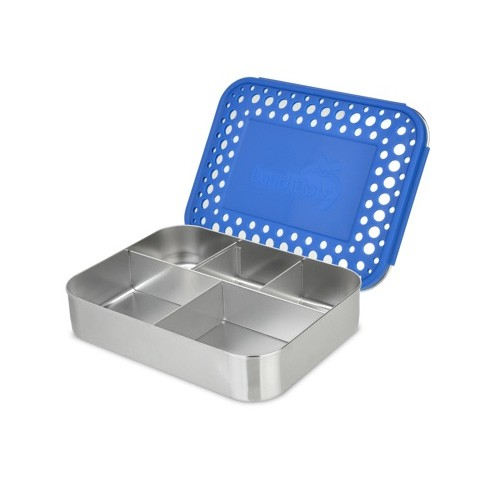 Lunchbots Bento Cinco - Stainless Steel Lunch Box with divider 960ml - blue dots lid
