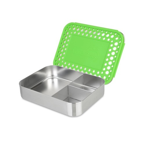 Lunchbots Bento Trio - Stainless Steel Lunch Box with divider 960ml - green dots lid
