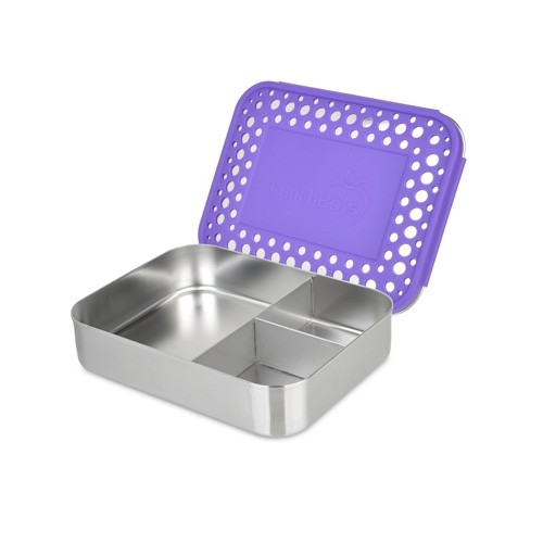 Lunchbots Bento Trio - Stainless Steel Lunch Box with divider 940ml - purple dots lid