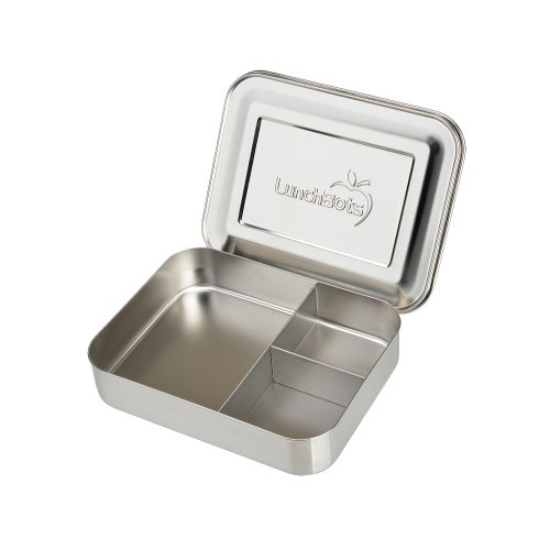 Lunchbots Bento Trio - Stainless Steel Lunch Box with divider 940ml - silver lid