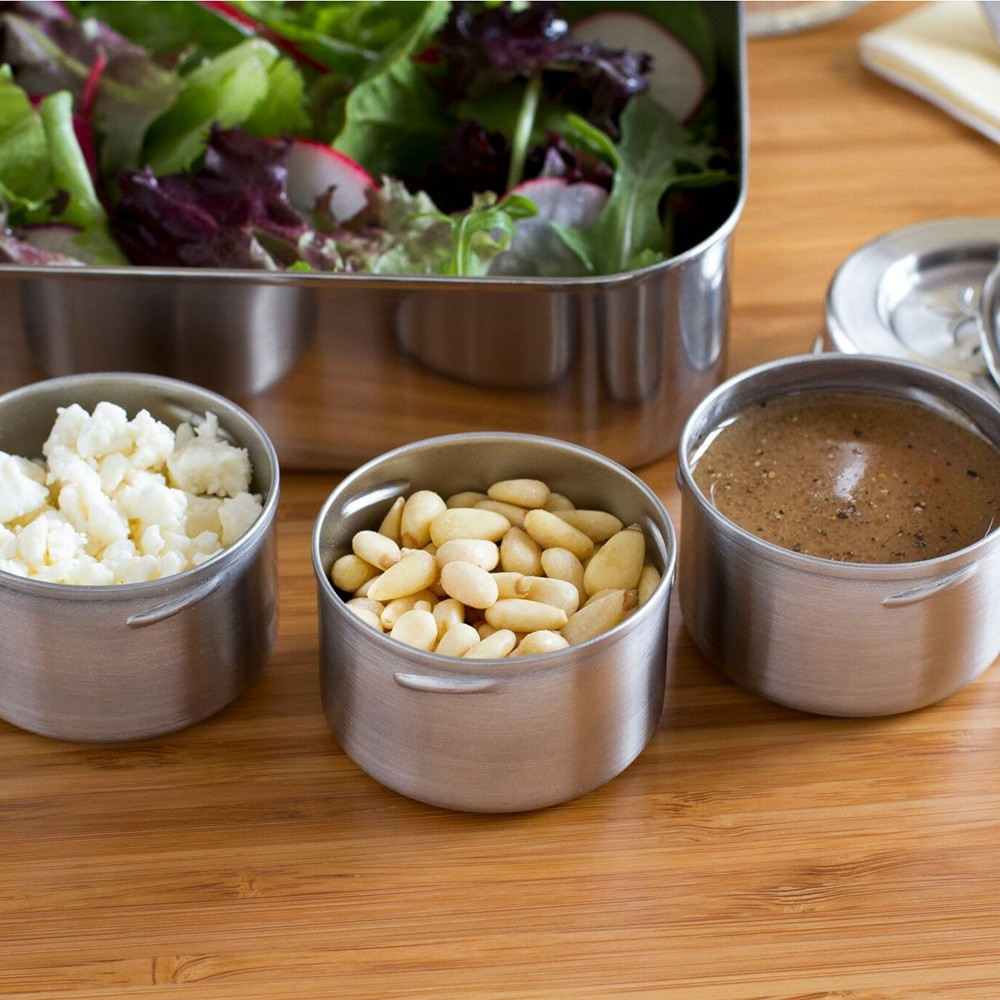 Lunchbots Dips - Leakproof Stainless Steel Condiment Containers - 3 x 45ml