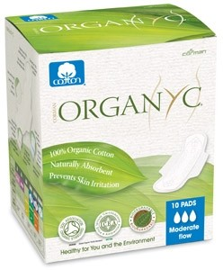 Organyc 100% Pure Organic Cotton Pads - Ultra Thin Pads - Moderate Flow with Wings (10 pack)