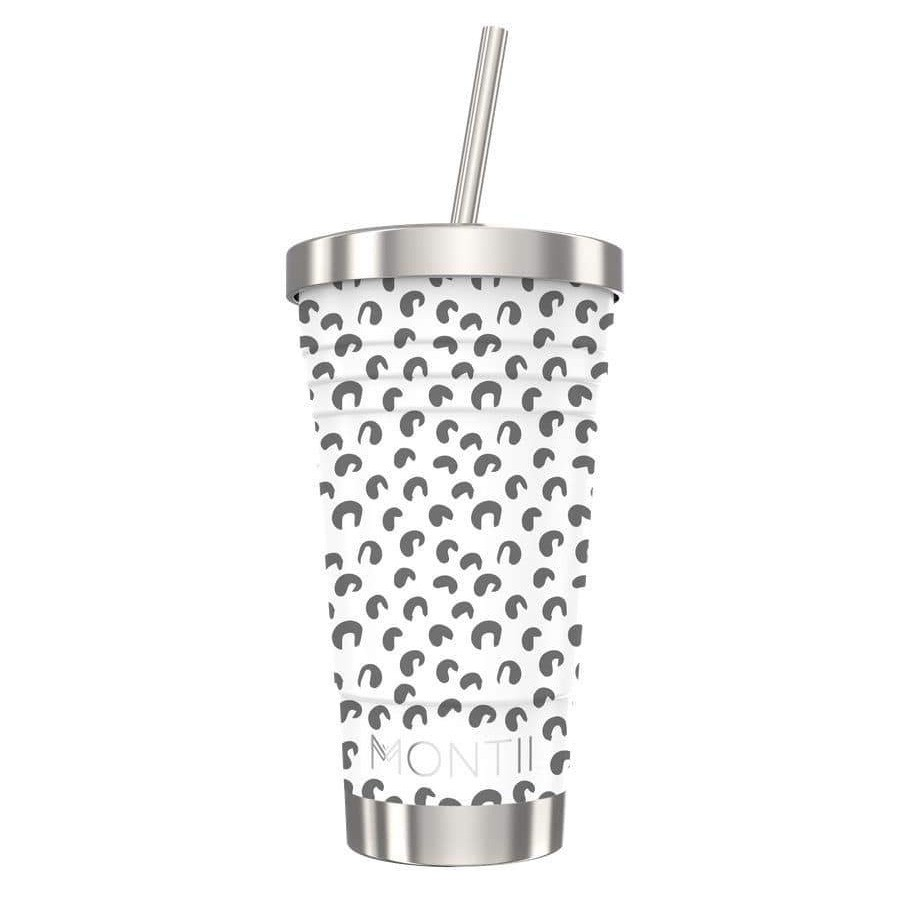 MontiiCo Stainless Steel Insulated Smoothie Cup & Straw - 450ml Leopard