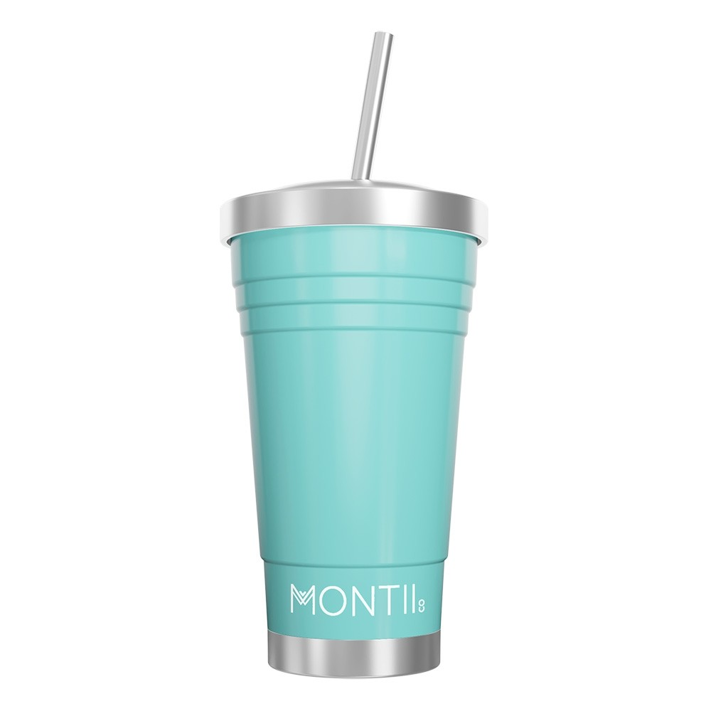 MontiiCo Stainless Steel Insulated Smoothie Cup & Straw - 450ml Teal