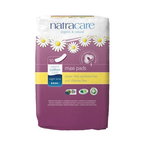 Natracare Certified Organic Cotton Maxi Pads - Night Time (10)