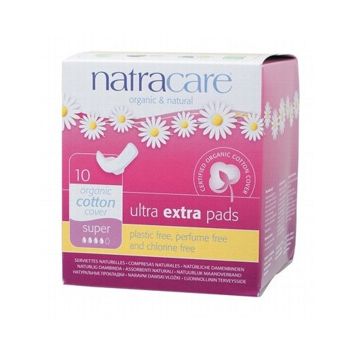 Natracare Certified Organic Cotton Ultra Extra Pads with wings - Super (10)