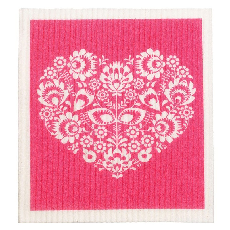 Retro Kitchen Swedish Dish Cloth - Pink Heart