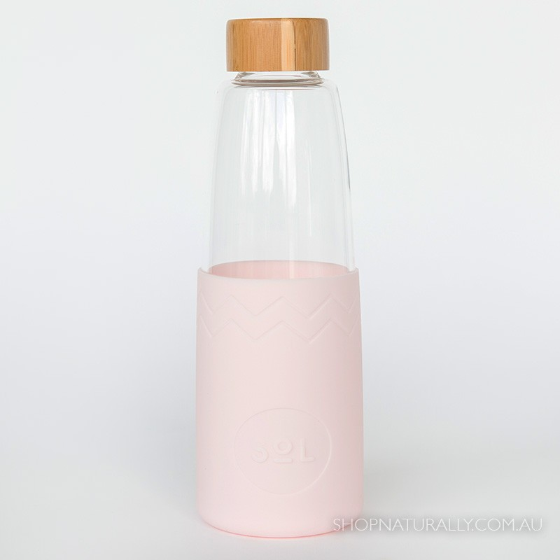 Sol Glass Water Bottle 850ml - Perfect Pink