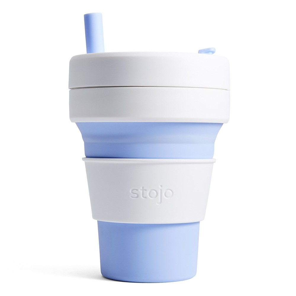Stojo Biggie Collapsible Silicone Smoothie Cup - 470ml Sky