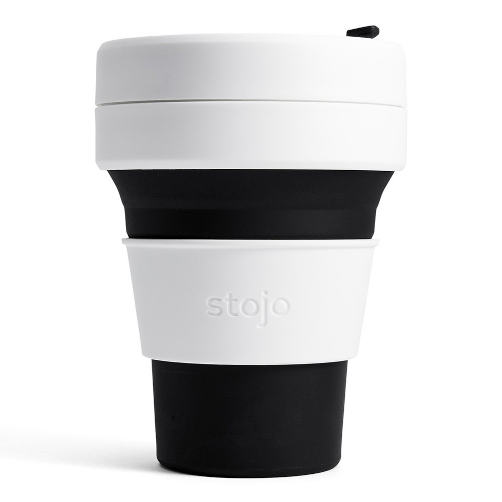 Stojo Pocket Collapsible Silicone Coffee Cup - 355ml Black