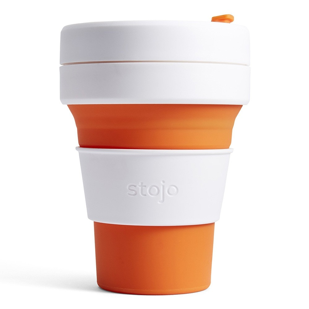 Stojo Pocket Collapsible Silicone Coffee Cup - 355ml Orange