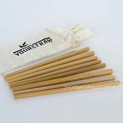 Yourstraw Bamboo Straws - 8 pack with pouch and cleaner