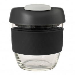 Avanti Glass Go Cup Reusable Coffee Cup - 236ml Black / Charcoal / Grey