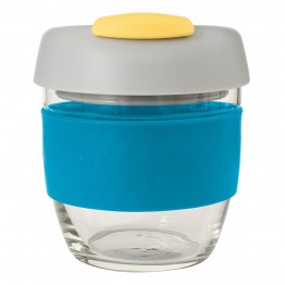 Avanti Glass Go Cup Reusable Coffee Cup - 236ml Blue / Grey / Yellow