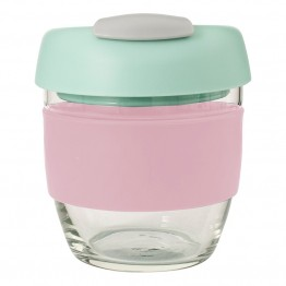 Avanti Glass Go Cup Reusable Coffee Cup - 236ml Pink / MInt / Grey