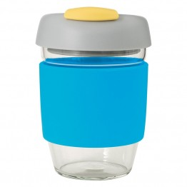 Avanti Glass Go Cup Reusable Coffee Cup - 355ml Blue / Grey / Yellow