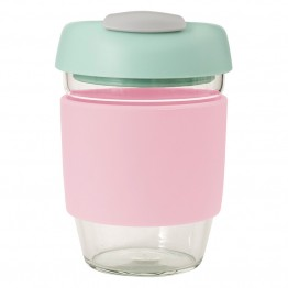 Avanti Glass Go Cup Reusable Coffee Cup - 355ml Pink / Mint / Grey