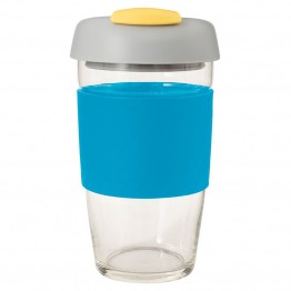 Avanti Glass Go Cup Reusable Coffee Cup - 473ml Blue / Grey / Yellow