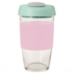 Avanti Glass Go Cup Reusable Coffee Cup - 473ml Pink / Mint / Grey