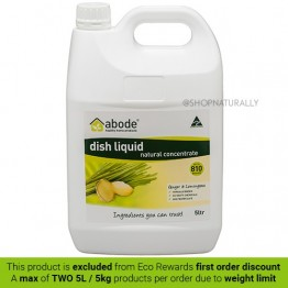 Abode Natural Dishwashing Liquid - 5L Ginger & Lemongrass