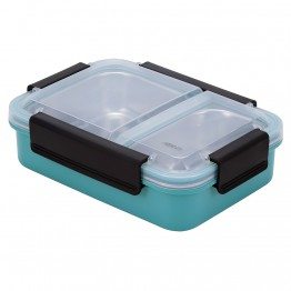 Avanti 2 Compartment Bento Box with Stainless Steel Tray - Turquoise