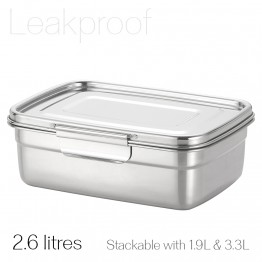 Avanti Dry Cell Stainless Steel Leakproof Food Container - 2.6 LItres